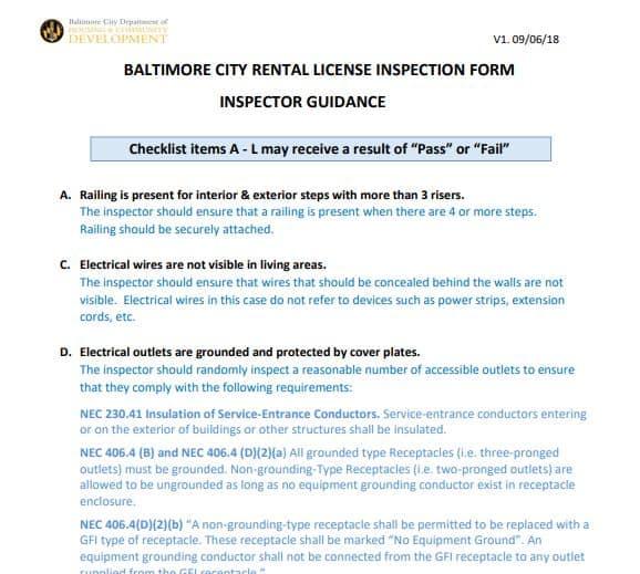 baltimore city rental inspection checklist
